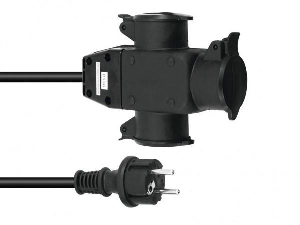 Stromkabel / Verlängerung | 3-Fach | Schutzkontakt | Outdoor| 3x1,5mm² | 10m