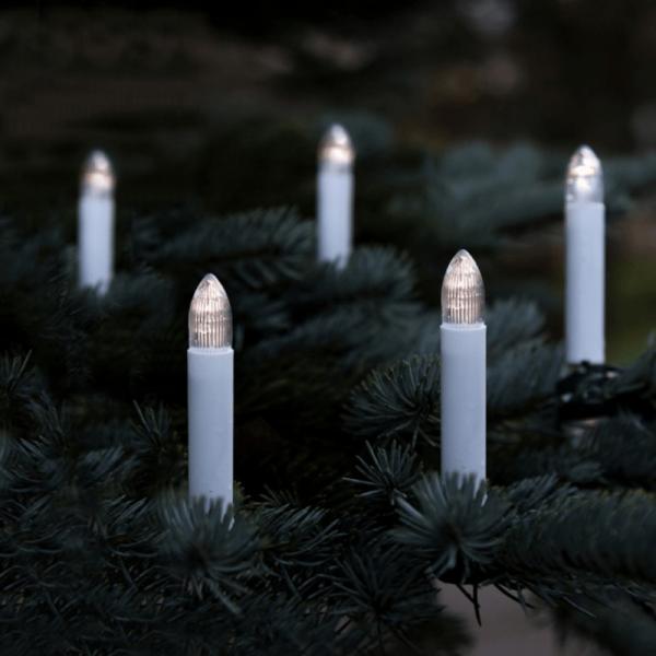 LED Kerzenkette - Strang - Outdoor - Batteriebetrieb - Timer - H: 9cm, L: 5,6m - 16er Set