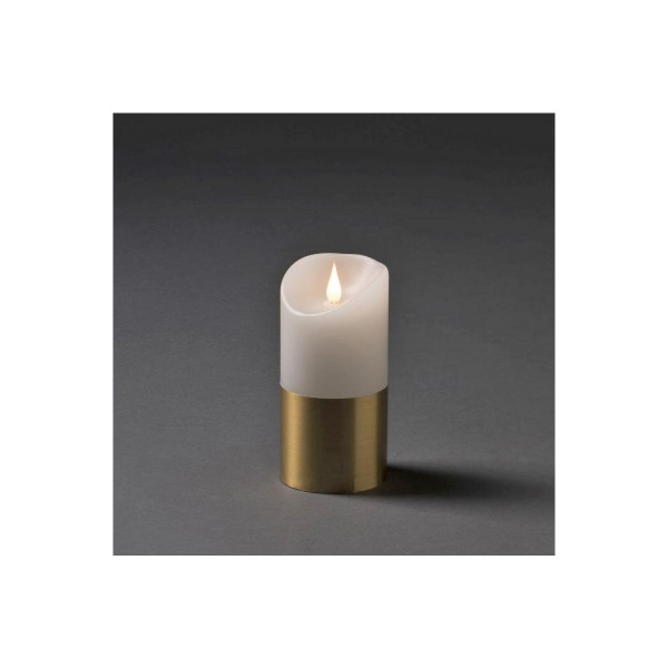 LED Kerze mit messingfarbener Banderole - Echtwachs - 3D Flamme - Timer - H: 15,5cm, D: 7,5cm - weiß