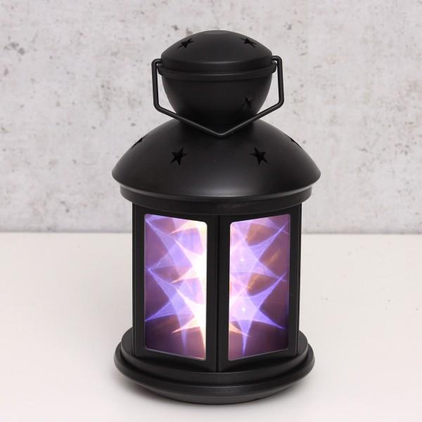 LED Laterne schwarz - weiße Sternenmuster - Batteriebetrieb