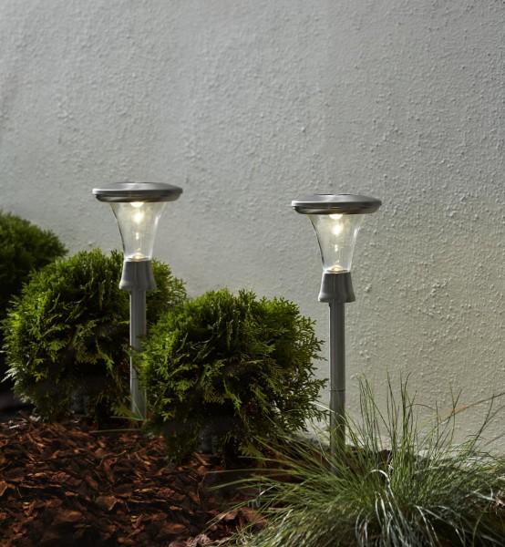 "LED-Solar-Lights ""Turin"" - 2er Set - WW LEDs - Edelstahl - H: 47cm - D: 13,5cm - Dämmerungssensor"