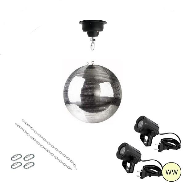 Spiegelkugel Komplettset 30cm mit Motor, 2 x LED Pinspot (warmweiss) und Montagematerial PROFI