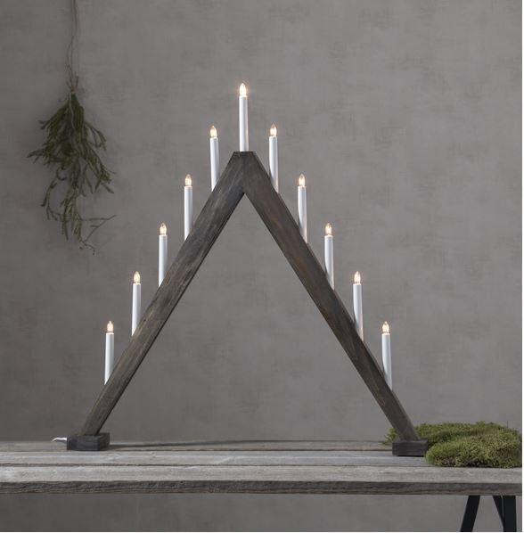 Fensterleuchter Trill - 11 warmweiße Glühlampen - L: 78cm, H: 79cm - Holz - Schalter - Naturbraun