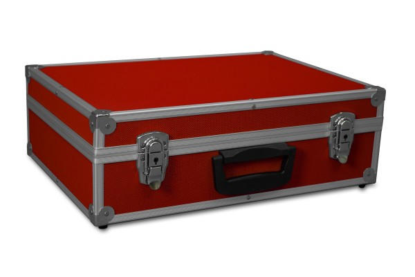 GORANDO® Transportkoffer rot, Alurahmen   440x300x130mm   Für Werkzeuge, Kameras, Messgeräte etc.