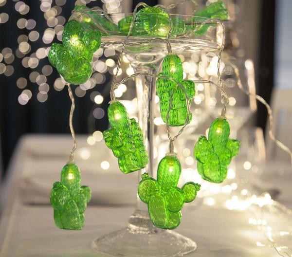 "LED-Lichterkette ""Cactus"" - 10 grüne Kakteen mit warmweißer LED - 1,35m - Batterie - Timer"