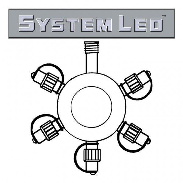 System LED Black   Verteiler   koppelbar   exkl. Trafo   5-fach   Ring