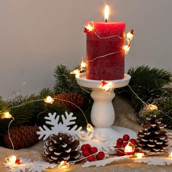 "LED Drahtlichterkette ""Santa"" - 20 warmweiße LED - silberner Draht - L: 1,9m - Batteriebetrieb"