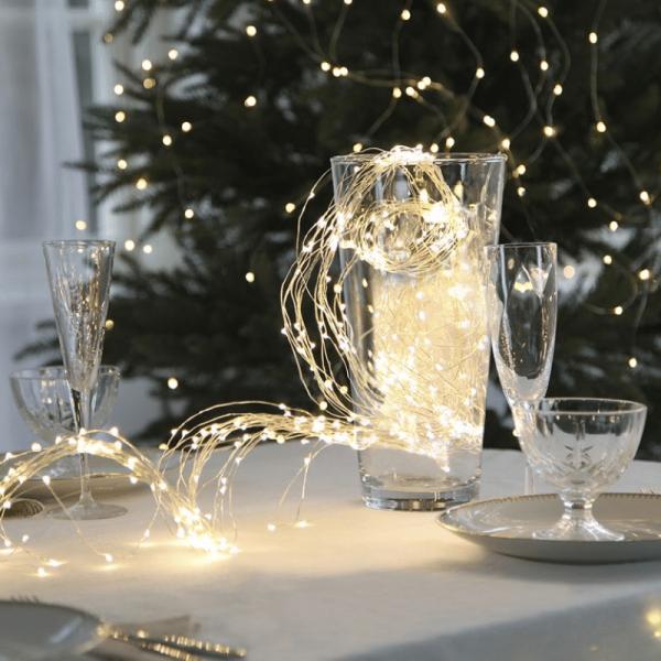 """LED Lichtbündel """"Dew Drop"""" - 125 warmweiße LED auf 10 silbernen Drähten - 2000K - 1,4m - inkl. Trafo"""