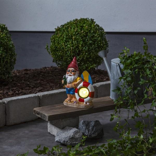 LED Solar Gartenzwerg mit Rettungsring - Spot mit warmweißer LED - H: 23cm - Dämmerungssensor
