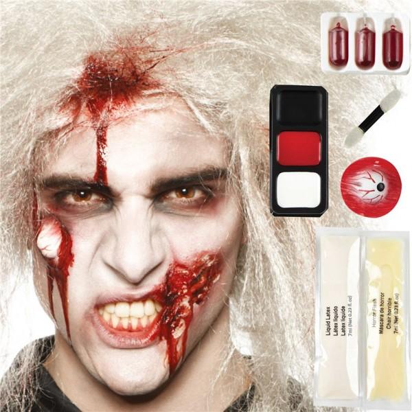 Halloween Maske - Zombie Masken Kit 10-teilig - Wunden, Auge und Blut - Make-Up-Kit