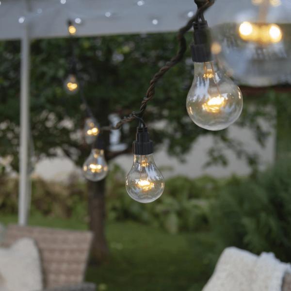 System LED Black - Lichterkette 10fach - ERWEITERUNG - schwarzes Kabel - warmweiße LED Lampen - IP44