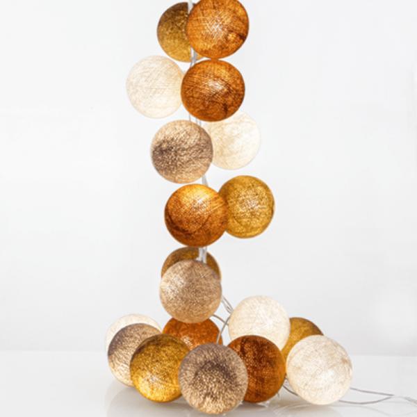 good moods*MILCH & HONIG - Ball-Lichterkette mit 20 Stoffkugeln - 20 warmweiße LEDs - Geschenkka