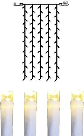 System DECOR   LED Lichtvorhang   koppelbar   1x2m   weißes kabel   100 warmweiße LEDs
