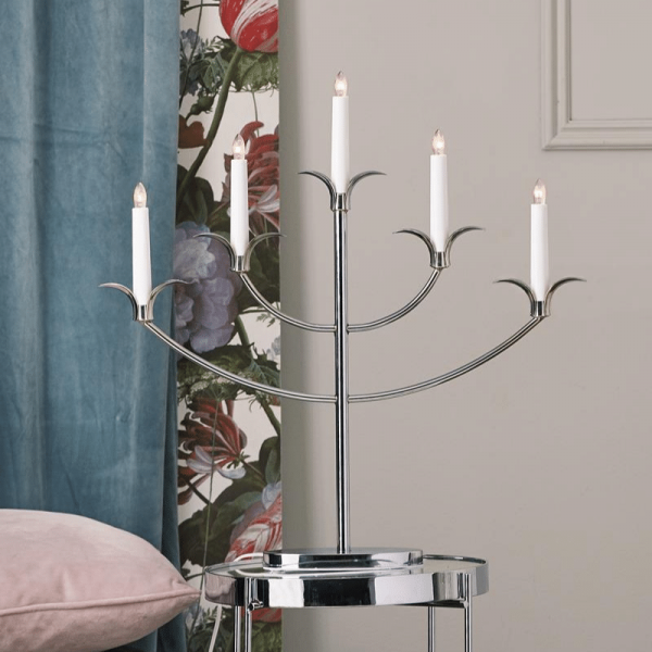 "Kerzenleuchter ""Tilpi""- 5flammig - H: 52cm - chrom - warmweiße Glühlampen - inkl. Trafo"