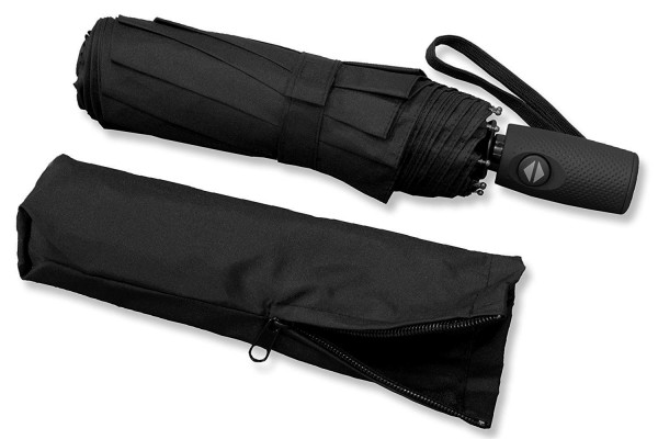RADOLEO® Schwarzer Taschenschirm   Premium Auf-Zu-Automatik   bis 140 km/h   Teflonbeschichtung   inkl. Tasche mit Reißverschluss