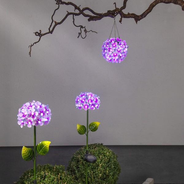 LED Solar Hängedeko Hortensie - mit Aufhänger - 44 kaltweiße LED - D: 16cm - Lichtsensor - pink