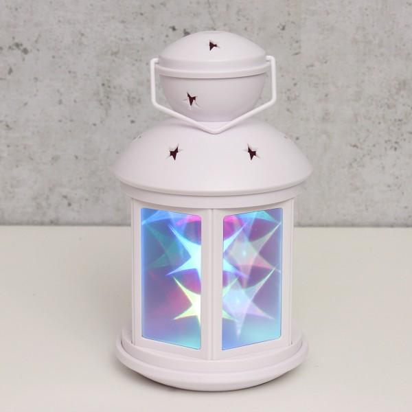 LED Laterne weiß - farbige Sternenmuster - Batteriebetrieb - statisch oder bewegte Muster