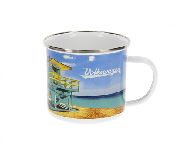 """VW Collection Emaille Tasse """"BEACHLIFE"""" - 500ml - mit Edelstahlrand"""