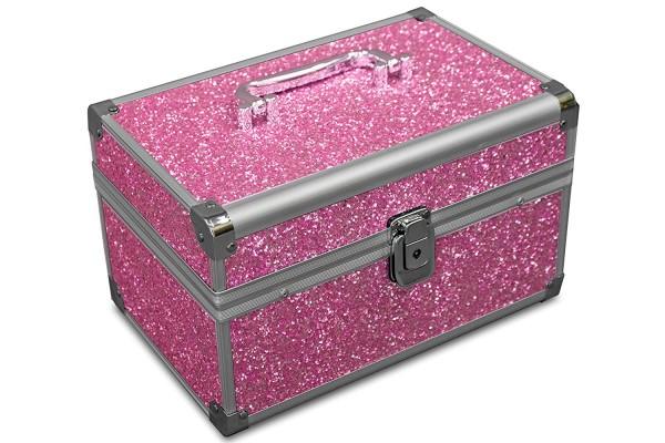 MARELIDA® Schmuckkoffer in Pink mit Glitzeroptik | Premium Schmuckkästchen für Schmuck & Co.