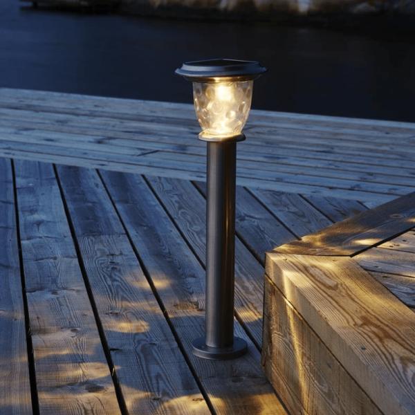 "LED Solar Wegleuchte ""Pireus"" - Edelstahl - warmweiße LED - H: 61cm - D: 19cm - Dämmerungssensor"