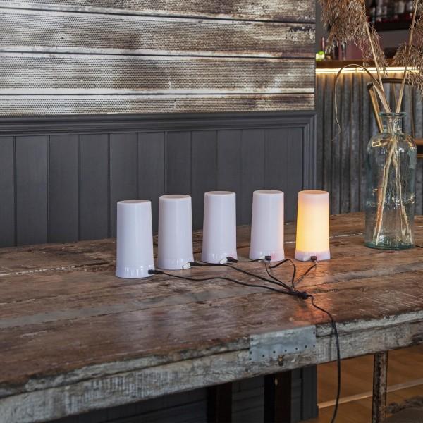 LED Windlicht Kerze DINER EXTRA - bewegliche LED Flamme - H: 13cm - wiederaufladbar - 5teilig