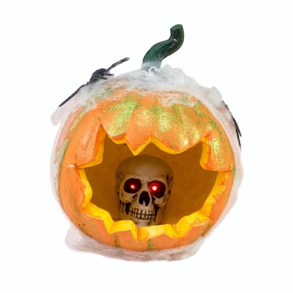 Kürbis im Spinnennetz, 25cm Halloween Dekoration - Mit Spinnweben, Spinne &Totenkopf mit Leuchtaugen