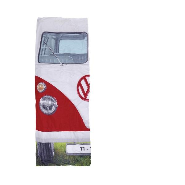 VW Collection - T1 Bulli Schlafsack rot - 2 Jahreszeiten - +5°C bis +15°C - wasserdichtes Pongee Gew