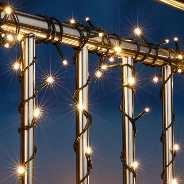 LED Lichterkette - Outdoor - 50 warmweiße LED - L: 4,9m - Timer - grünes Kabel - Außentrafo