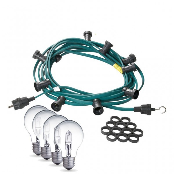 Illu-/Partylichterkette | E27-Fassungen | Made in Germany | mit weißen Glühlampen | 5m | 10x E27-Fassungen