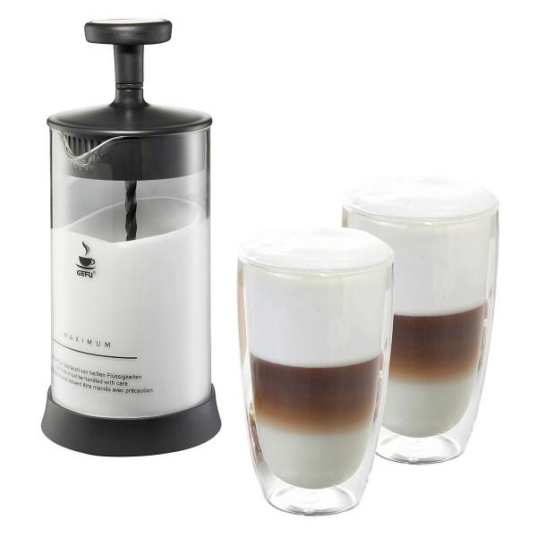 GEFU Set: Milchaufschäumer ANTONIO und 2 Latte Macchiato Gläser (je 350ml)