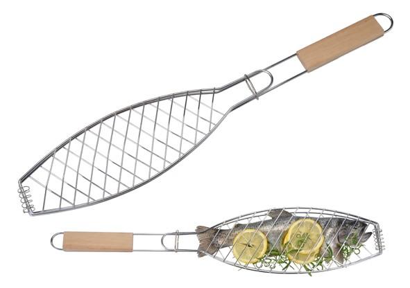Fischgitter - Fischbräter, extra lang - verchromt - mit Holzgriff