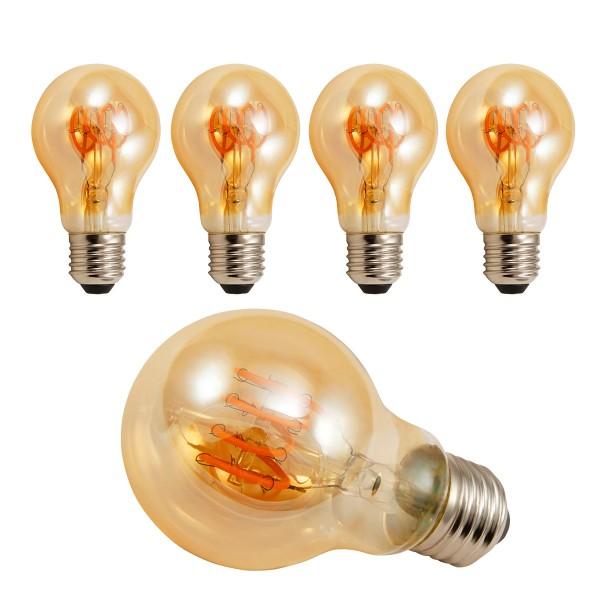 4 x LED Tropfenlampe RETRO-GOLD-Filament - E27 - 4W - 280lm - 2200K