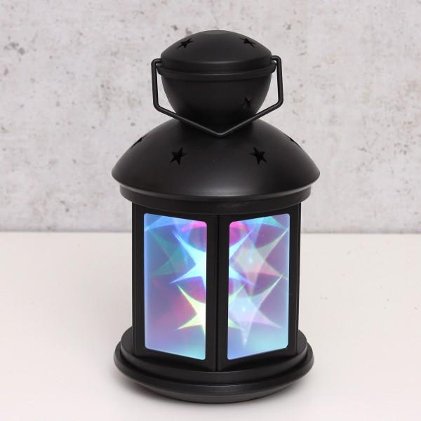 LED Laterne schwarz - farbige Sternenmuster - Batteriebetrieb - statisch oder bewegte Muster
