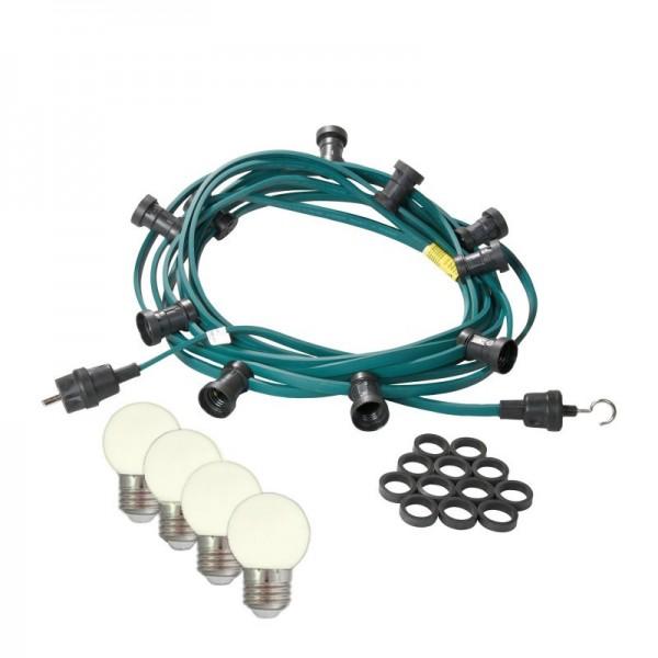 Illu-/Partylichterkette | E27-Fassungen | Made in Germany | mit weißen LED-Lampen | 5m | 10x E27-Fassungen