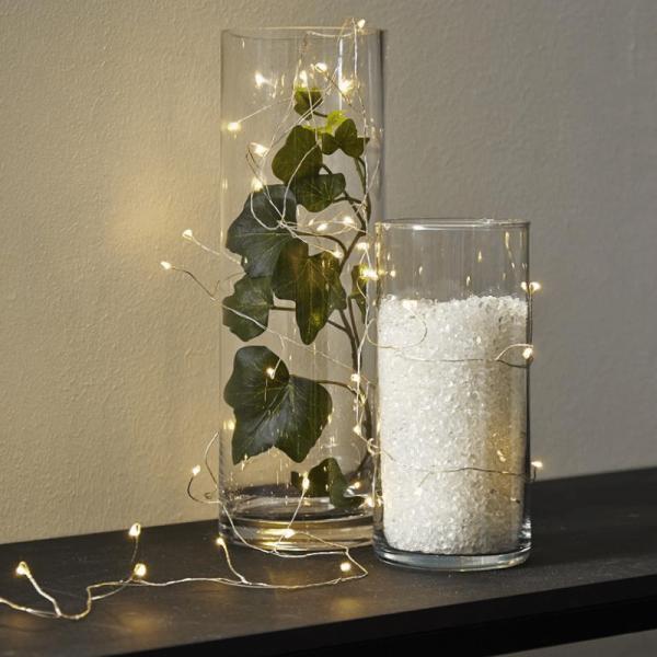 "LED Drahtlichterkette ""Dew Drop"" - 100 weiße LED - silberner Draht - 2700K - 6m - inkl. Trafo"