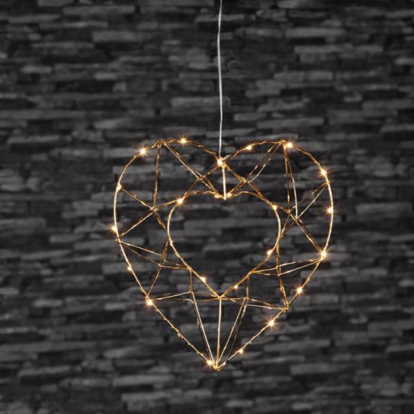 "LED-Drahtherz ""Edge"" - 25 warmweiße LED - Material: Metall, messingfarben - H: 34cm, L: 32cm"
