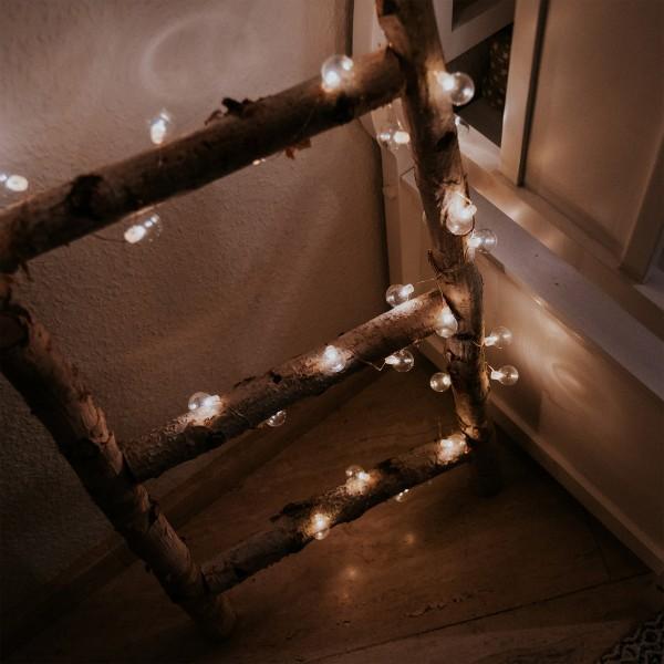 """LED-Lichterkette """"Mini Glow"""" - 20 kleine weiße Birnen - warmweiße LEDs - 1,6m - Batterie - outdoor"""