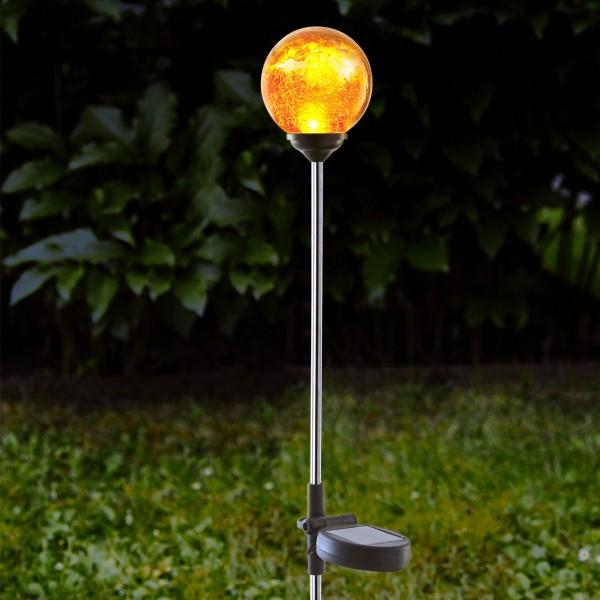 """LED Solarkugel """"Roma""""- Edelstahl - amber Glas - amber LED - H: 68cm - D: 7,8cm - Dämmerungssensor"""