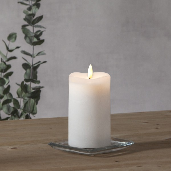 """LED Stumpenkerze """"Flamme"""" - Echtwachs - warmweiße 3D Flamme - H: 14cm - Batteriebetrieb - Timer"""