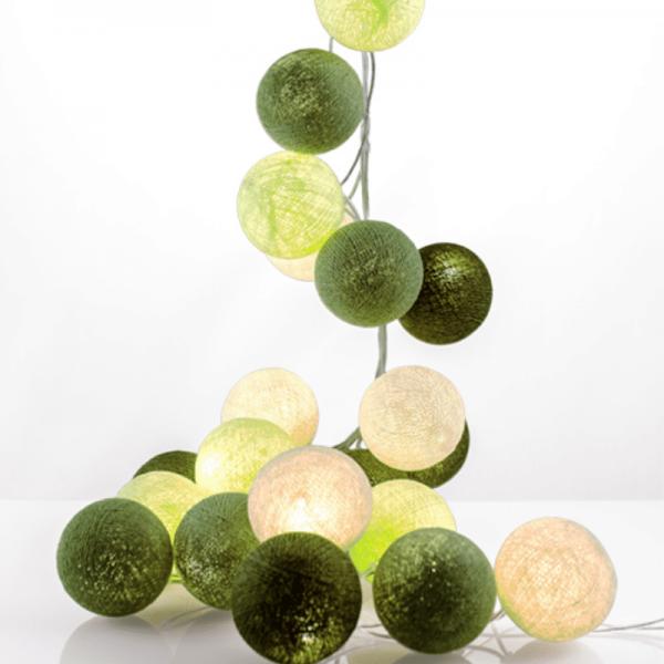 good moods* GRÜNZEUG - Ball-Lichterkette mit 35 Stoffkugeln - 35 warmweiße LEDs - Geschenkkarton
