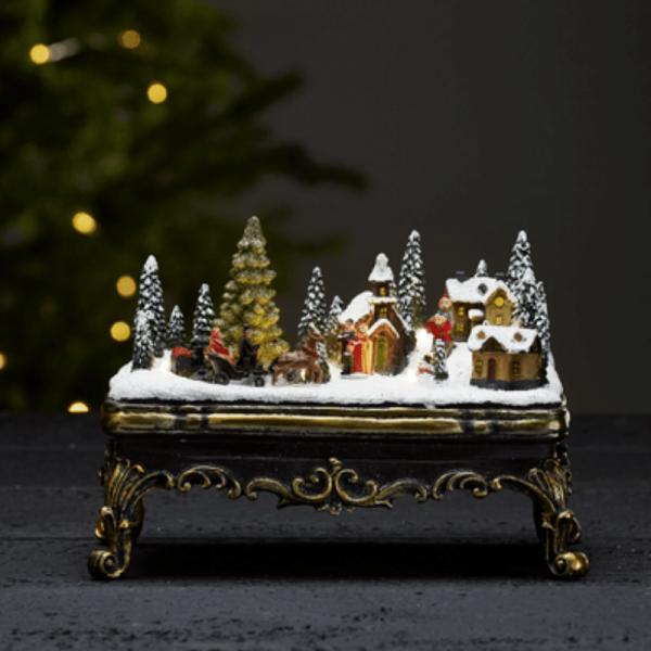 "LED-Weihnachtszene ""Glasgow"" - 6 warmweiße LED - Batteriebetrieb - H: 16,5cm - bunt"
