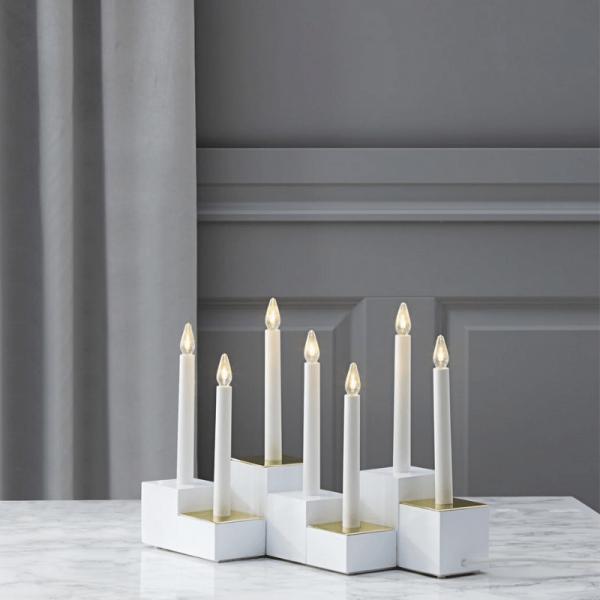 """LED-Fensterleuchter """"Klossy"""" - 7flammig - warmweiße LEDs - H: 29cm - Schalter - Weiß/Gold"""