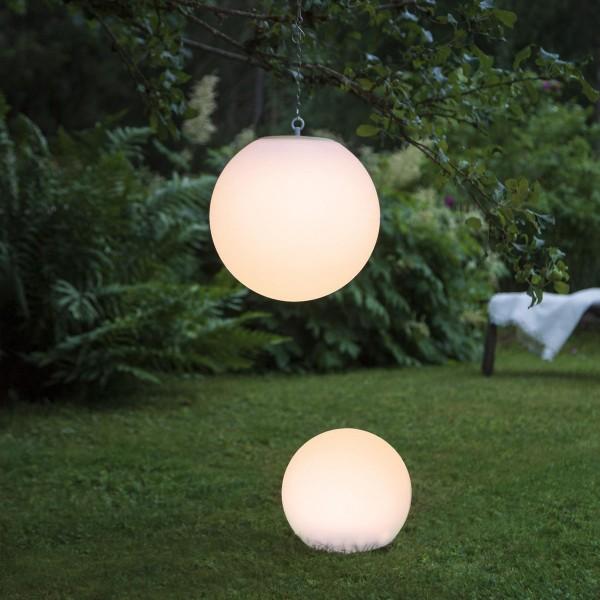 LED Solar Gartenkugel GLOBY - Erdspieß - H: 23cm, D: 25cm - 2 warmweiße LED - Dämmerungssensor