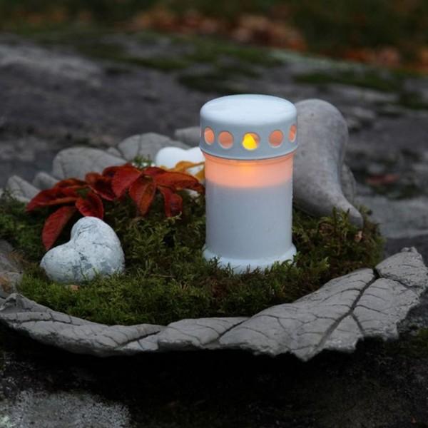 """LED Novenkerze """"Serene"""" - Grabkerze - flackernde gelbe LED - H: 13,5cm - weiß"""