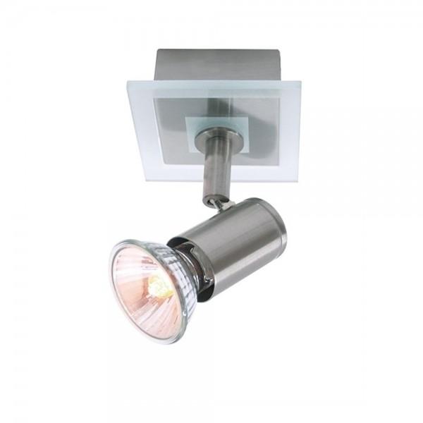 Deckenaufbauleuchte Match II 1-flammig - max 50W - Satinglas/Edelstahl - 8x8x10,8cm