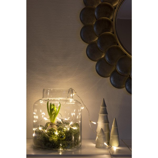 Micro LED Lichterkette - gefrostet - 10 bernsteinfarbene LED - L: 0,63m - transp. Kabel - Indoor