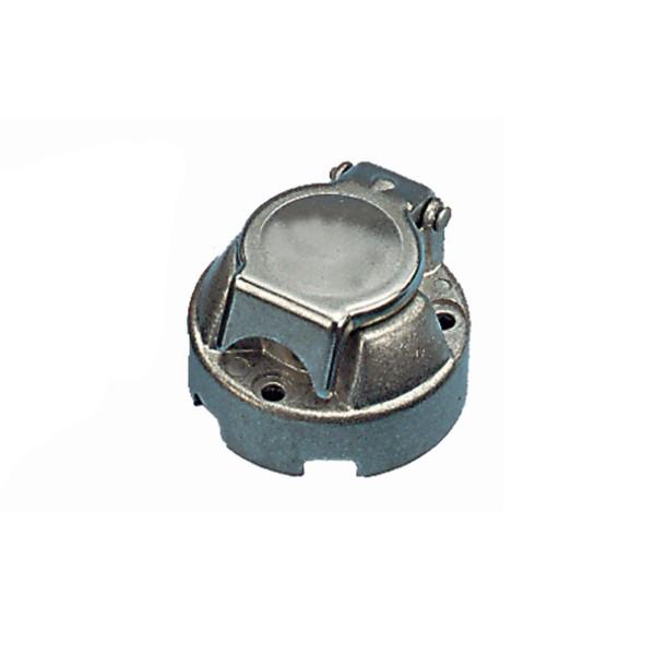 Steckdose 7-pol für KFZ Anhänger - stabile Metallausführung mit Mittelkontakt - Sockel 69mm