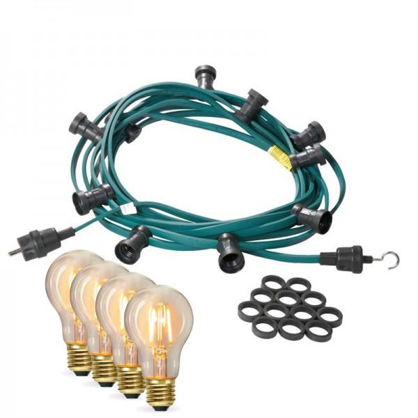 Illu-/Partylichterkette 40m   Außenlichterkette   Made in Germany   60 x Edison LED Filamentlampen