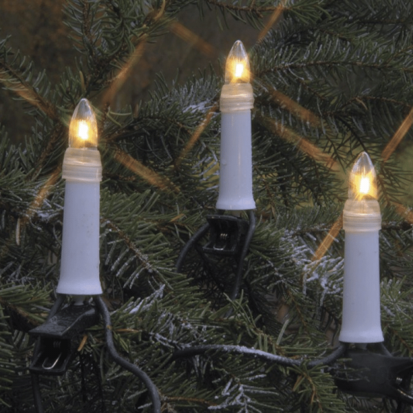 Kerzenkette - 25 warmweiße Kerzen - Outdoor - Strang - E10 Fassung - H: 11,5cm, L: 12m - weiß