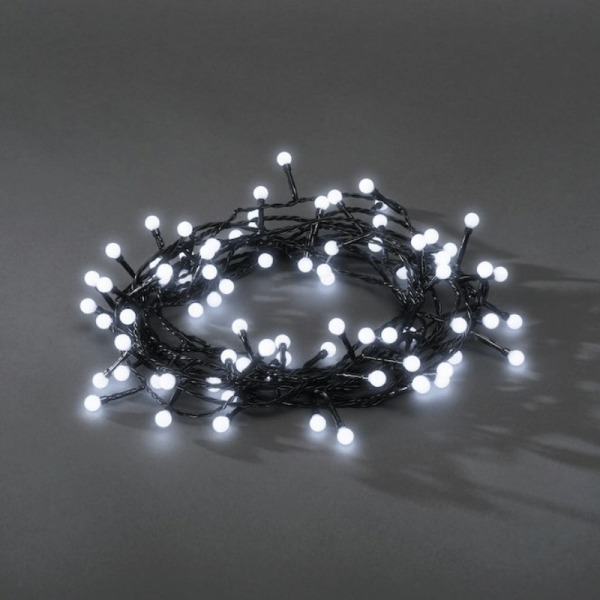 LED-Kugellichterkette - Ball Line Outdoor - 12,72m - 160x Kaltweiß - Schwarzes Kabel